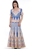 Lady R Nadia Silk Cut Work Blue Gown
