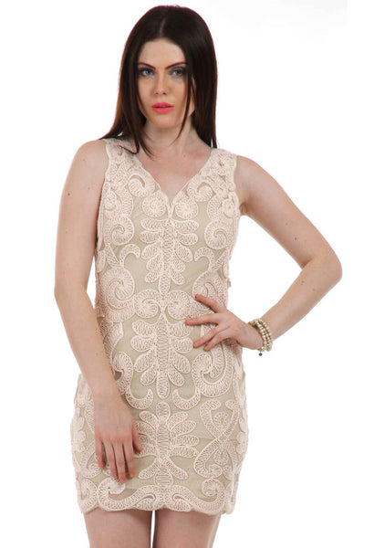 Lady R patricia cotton Net N-neckline Beige Dress