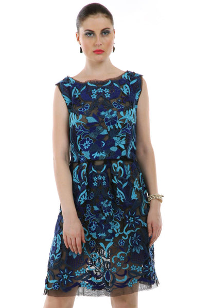 Lady R Sybil Hades Blue Shades Embroidered Dress