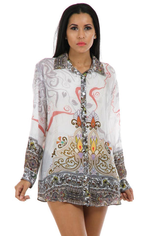 Lady R Lindsey Digital Printed Crape Shirt