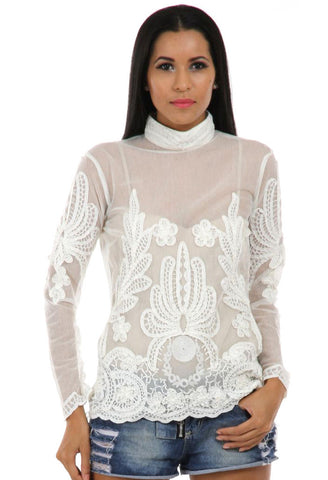 Lady R Kevin High Neck Cotton Net Top