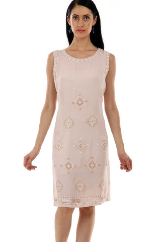 Lady R Rillaso Cross-stitch Beige Dress