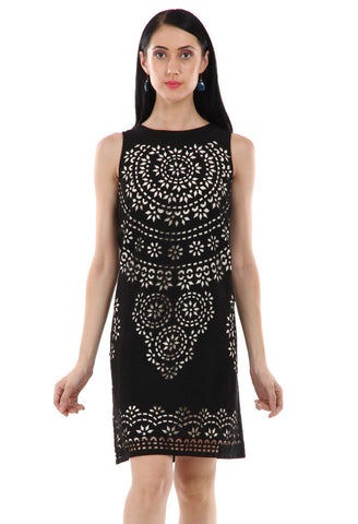 Lady R Jacie Poly Moss Laser Cut design Dress