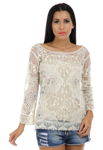 Lady R Logan Boat Neck Thread Embroidered Top