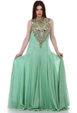 Lady R Adrianna Flary Green Georgette Gown