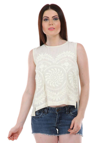 Lady R Lousie Poly Moss round Neck Top