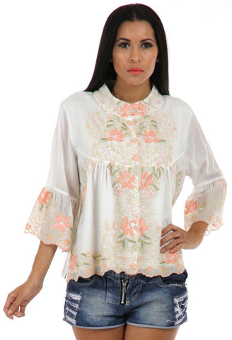 Lady R Harpa Thread And Cord Work Embroidered Top