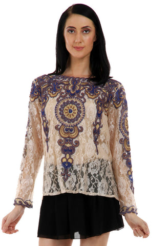 Lady R Sonaka Self Lace Embroidered Top