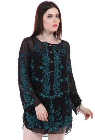 Lady R Nevaeh Beaded Georgette Tunic