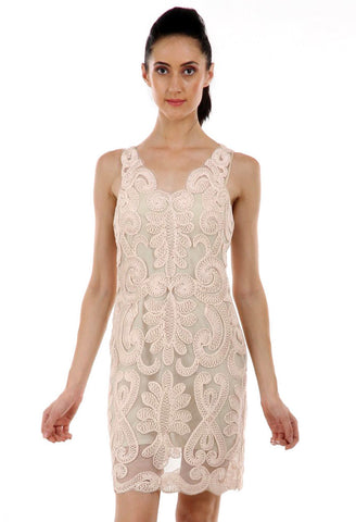Lady R Caris Tonal Cord Embroidered Dress
