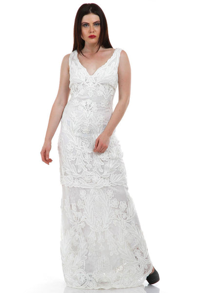 Lady R Madilyn Self Lace V-neckline Gown