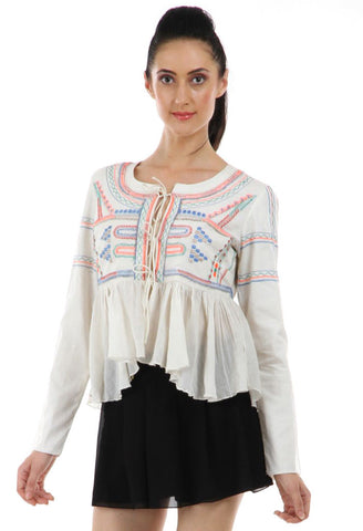 Lady R Basia White Thread Work Embroidery Top