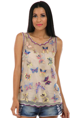 Lady R Gabrielle Butterfly Silk Organza Top