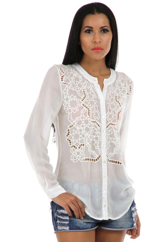 Lady R Abigail Viscose Crape High Neck Shirt