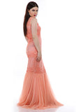Lady R Sabrina Orange Cord Embroidered Gown