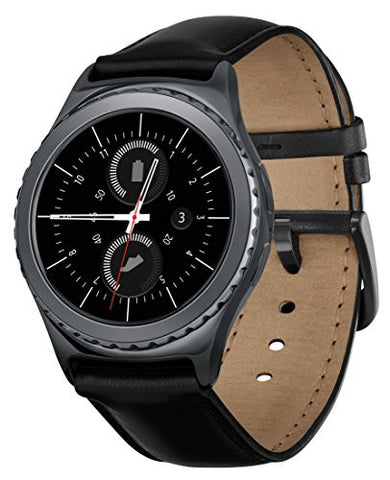 SAMSUNG - GEAR S2 CLASSIC SMARTWATCH 40MM STAINLESS STEEL - BLACK LEATHER