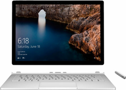 "Microsoft - Surface Book 13.5"" Touch Screen with Performance Base - Intel Core i7 - 8GB Memory - 256GB Solid State Hard Drive - Silver"