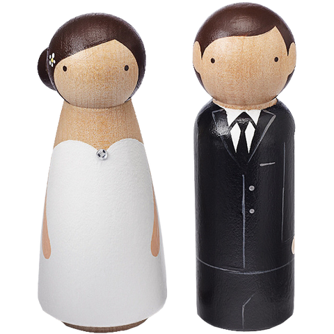 Hand-painted Wooden Couple Cake Topper
