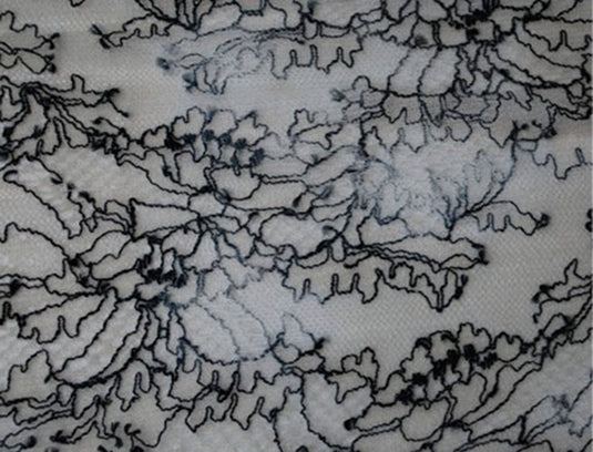 Blue and Black French Chantilly Lace