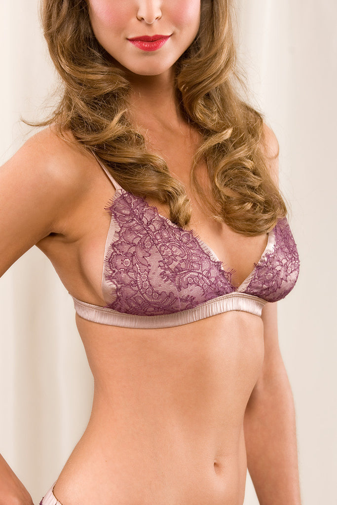 19bc9db9fab9 Delice silk and French lace soft-cup bra
