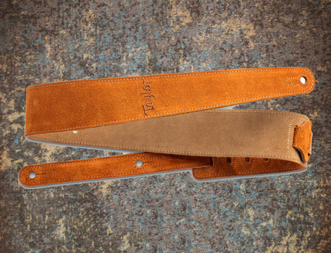 "Taylor 2.5"" Embroidered Suede Guitar Strap Honey Gold"