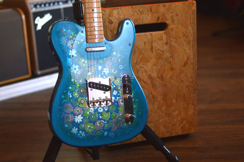 Image of Fender Limited Edition FSR Classic '69 Telecaster MIJ Blue Flower w/ Maple Fretboard