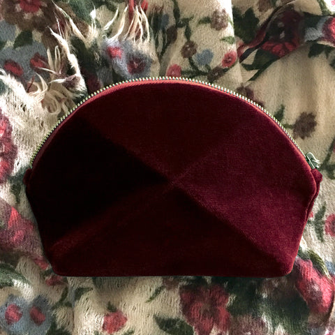 Pyramid cosmetic bag - Berry Velvet