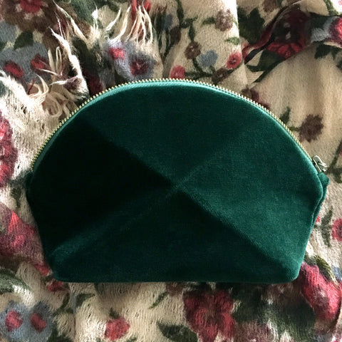Pyramid cosmetic bag - Green Velvet