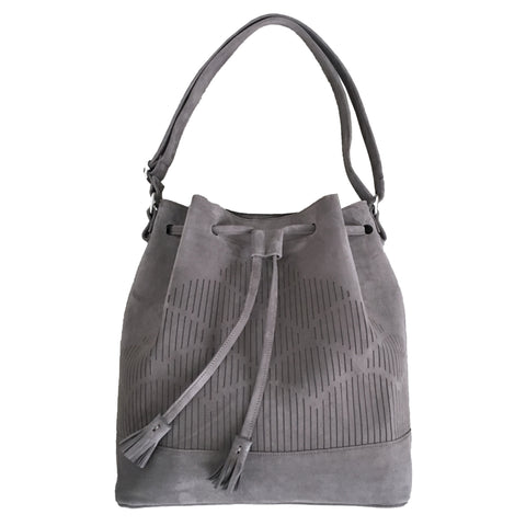 Suede Cut out bucket bag - grey