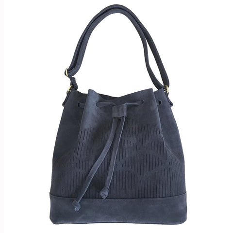 Suede Cut out bucket bag - blue