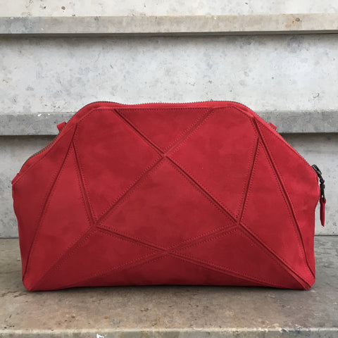 Fold it! Cross body clutch - Red suede