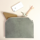 Leather zip pouch - grey