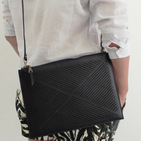Cut out clutch / cross body bag  - black