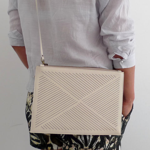 Cut out clutch / cross body bag  - Ivory
