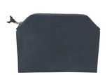 Leather zip pouch - dark blue