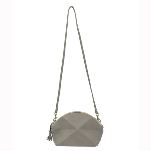 Pyramid Cross Body bag - Grey suede