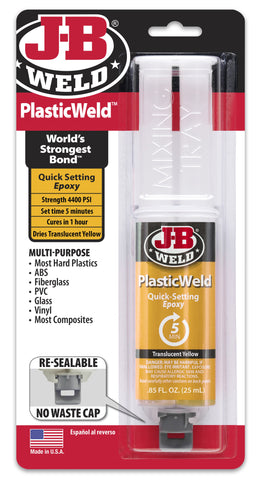 JB Weld PlasticWeld Quick Set Epoxy Glue Plastic Repair & Adhesive 50132
