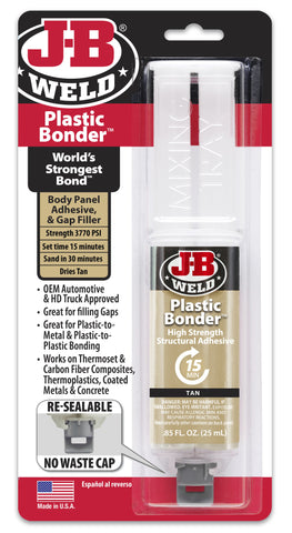 JB Weld Plastic Bonder High Strength Adhesive Strong Glue Syringe 50133