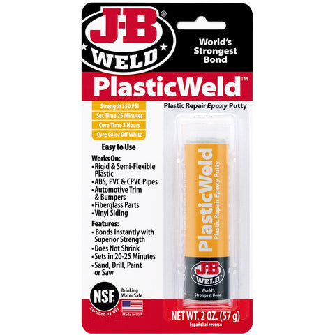 JB Weld PlasticWeld Quick Set Epoxy Putty Stick Plastic Repair Adhesive 8237
