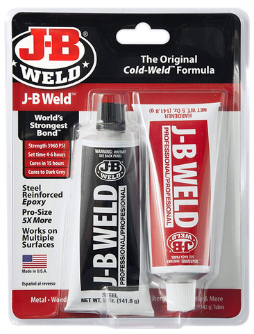 JB Weld Original Cold Weld Steel Reinfoced Epoxy Glue Professional Size 8281
