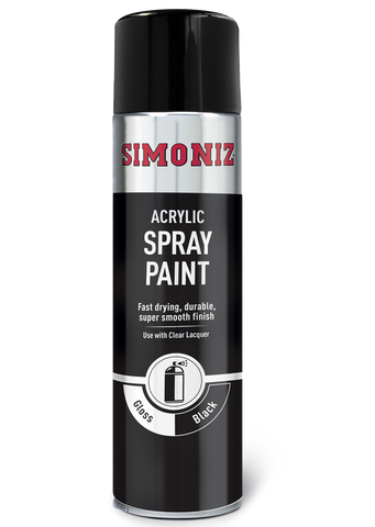 Simoniz Gloss Black Acrylic Spray Paint 500ml SIMP15D