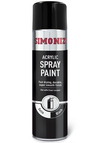 Simoniz Satin Matt Black Acrylic Spray Paint 500ml SIMP16D