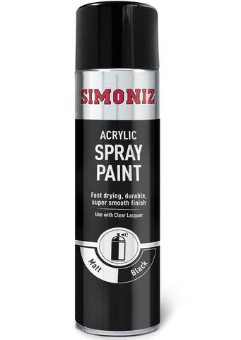 Simoniz Matt Black Acrylic Spray Paint 500ml SIMP17D
