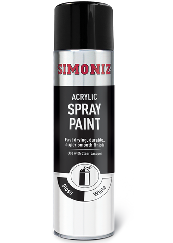 Simoniz High Gloss White Acrylic Spray Paint 500ml SIMP18D
