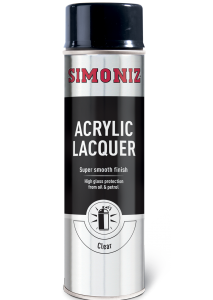Simoniz Clear Lacquer High Gloss Acrylic Spray Paint 500ml SIMP22D
