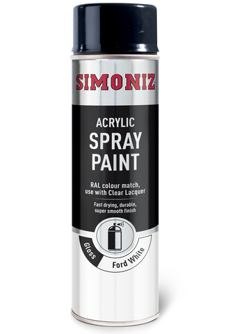 Simoniz Ford Van White Gloss Acrylic Spray Paint 500ml SIMP23D