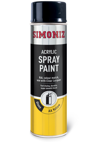 Simoniz AA Van Gloss Yellow Acrylic Spray Paint 500ml SIMP24D