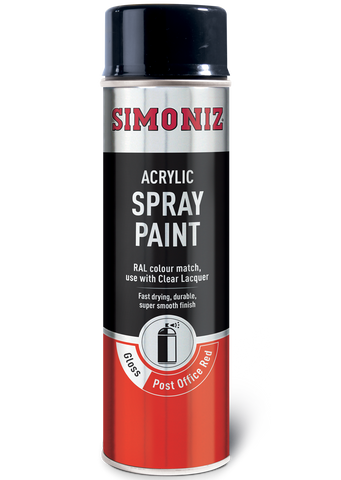 Simoniz Post Office Red Gloss Acrylic Spray Paint 500ml SIMP25D