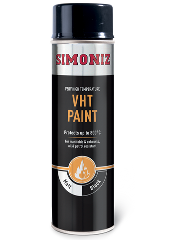 Simoniz Very High Temperature Matt Black  VHT Spray Paint 500ml SIMVHT20D