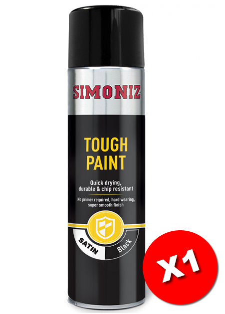 Simoniz Tough Satin Black Acrylic One Coat Spray Paint 500ml Simvht51d Save And Drive Automotive Car Accesories Roof Box Roof Bar Hire